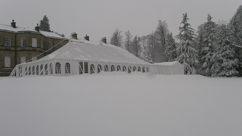 Marquee in the snow